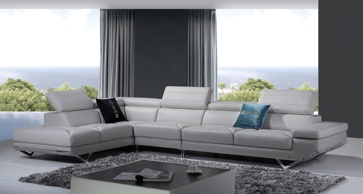 Quebec Sectional Sofas Intended For Well Known Casa Quebec Modern Light Grey Italian Leather Sectional Sofa (View 15 of 20)