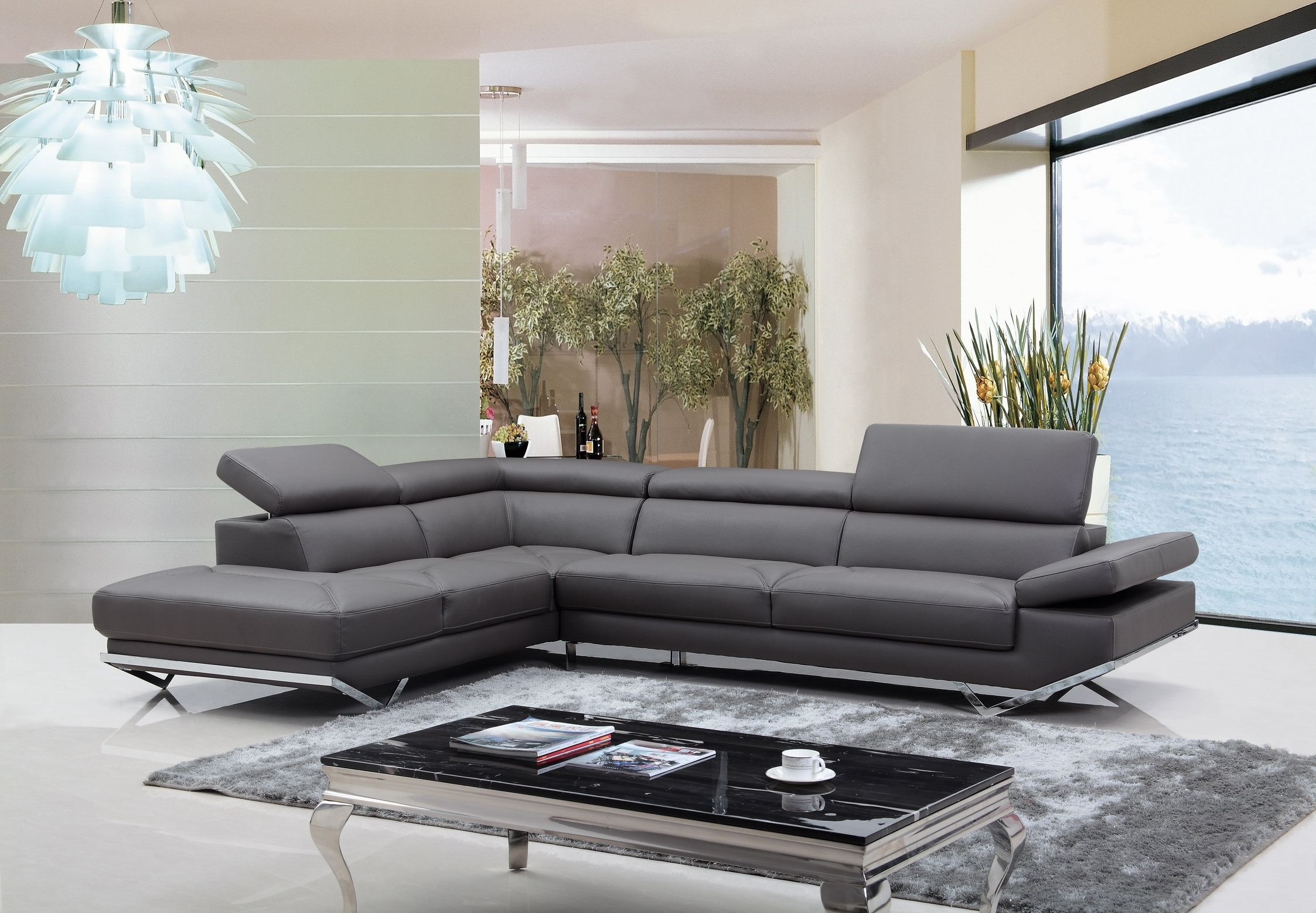 Quebec Sectional Sofas Pertaining To 2019 Casa Quebec Modern Dark Grey Eco Leather Sectional Sofa (Gallery 2 of 20)