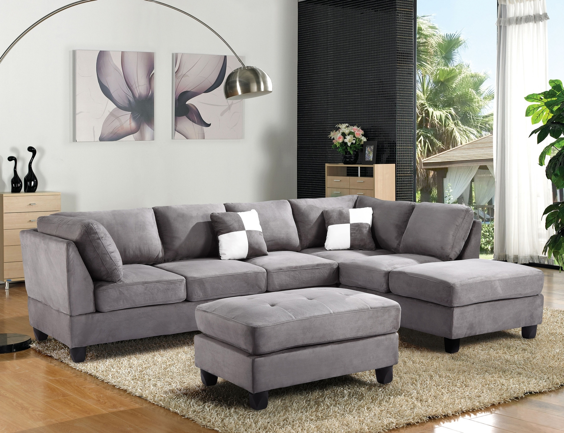 Quebec Sectional Sofas With Regard To Well Known Off Agata Light Grey Sectional Sofas Gray Sofa Modern Fabric (View 17 of 20)