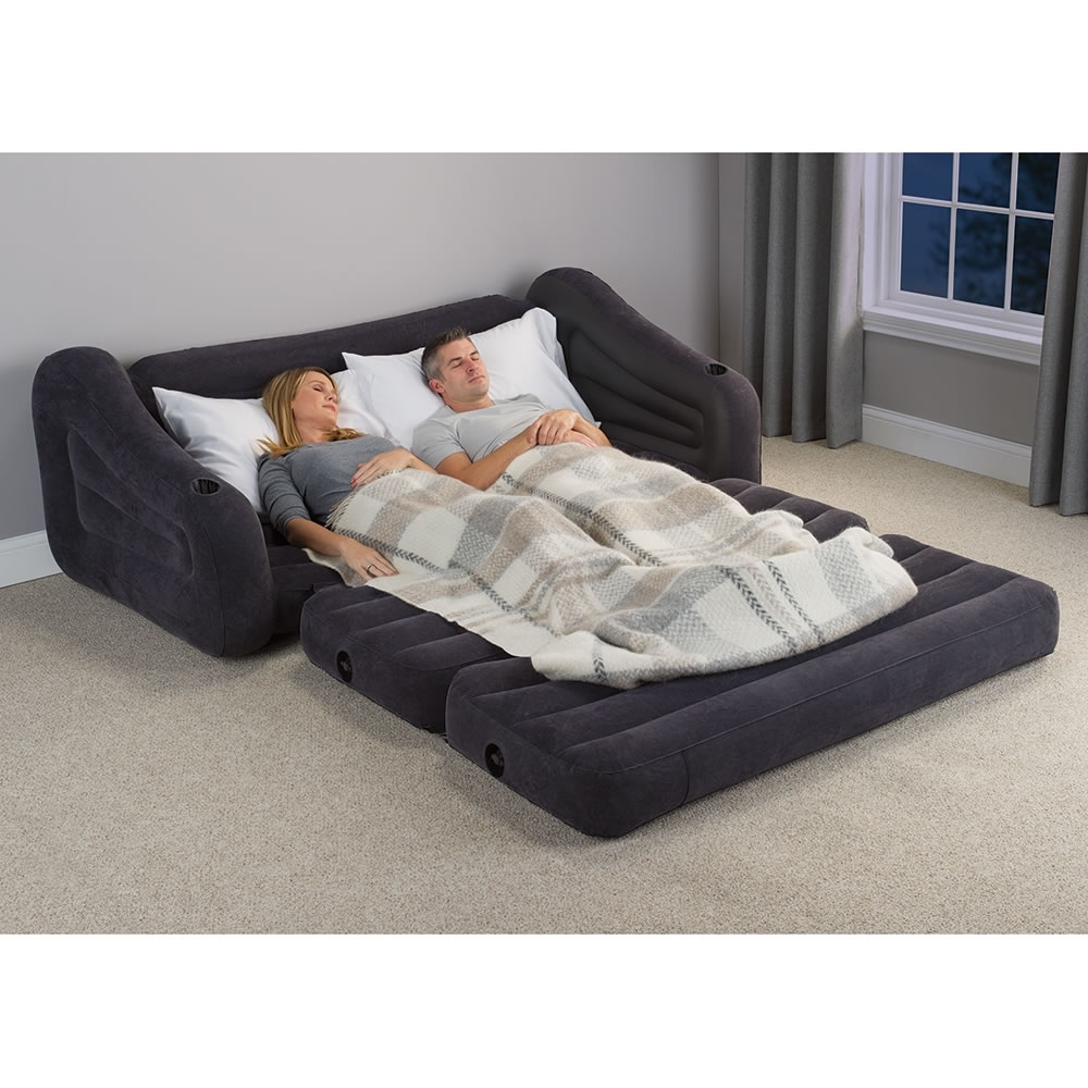 Queen Size Sofas Pertaining To Favorite The Inflatable Queen Size Sleeper Sofa – Hammacher Schlemmer (View 15 of 20)