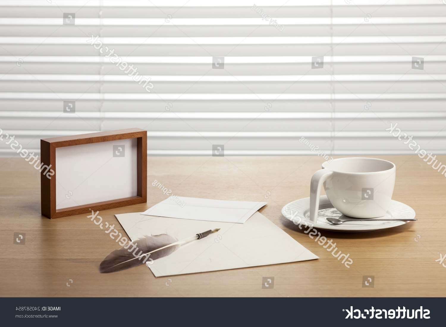 Quill Computer Desks Inside Most Recently Released Coffee Cup Feather Quill Pen Wood Stock Photo 240587854 – Shutterstock (View 13 of 20)