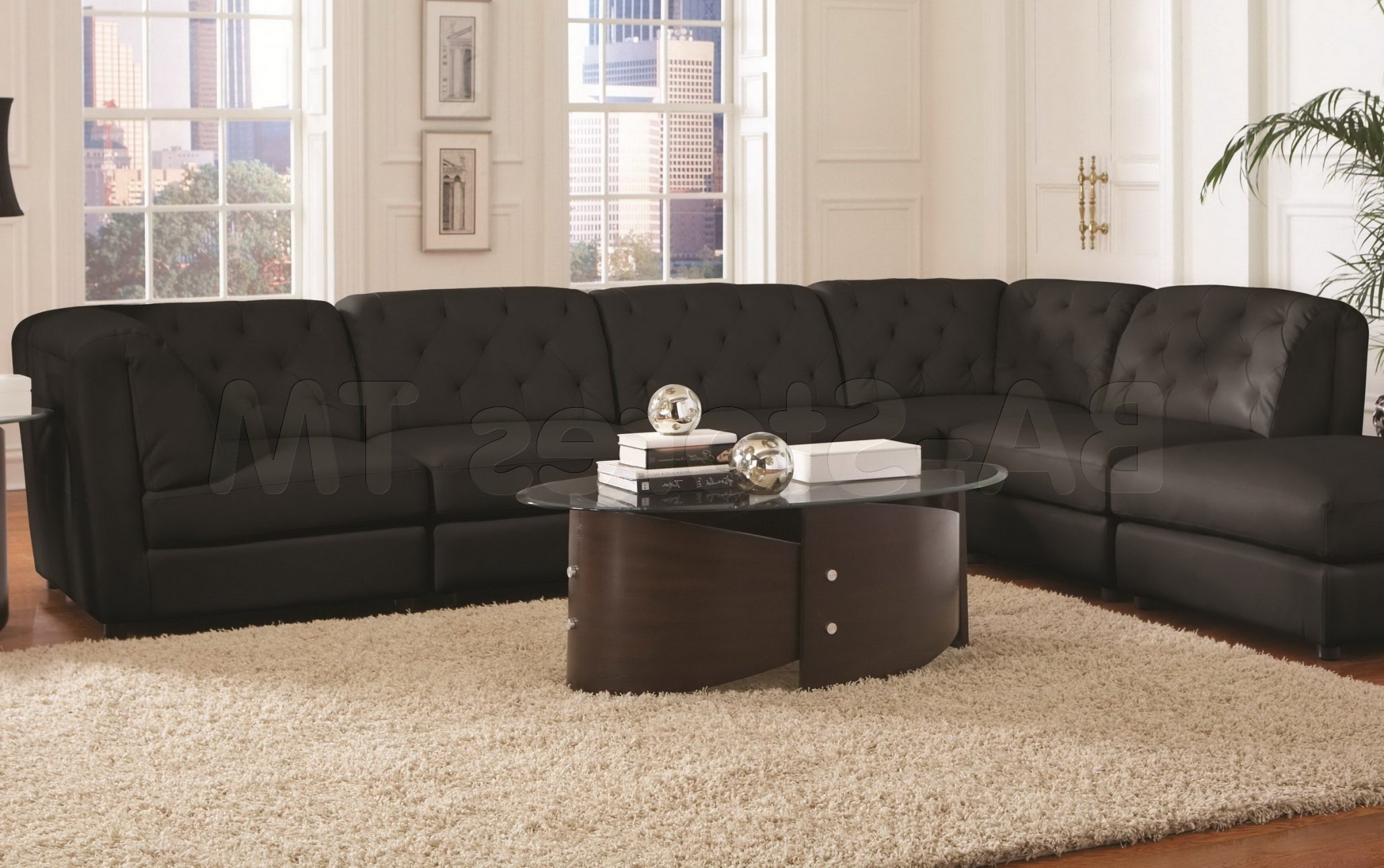 Quinn Black Bonded Leather Match Modular Sectional Sofa Throughout In Widely Used Leather Modular Sectional Sofas (View 15 of 20)