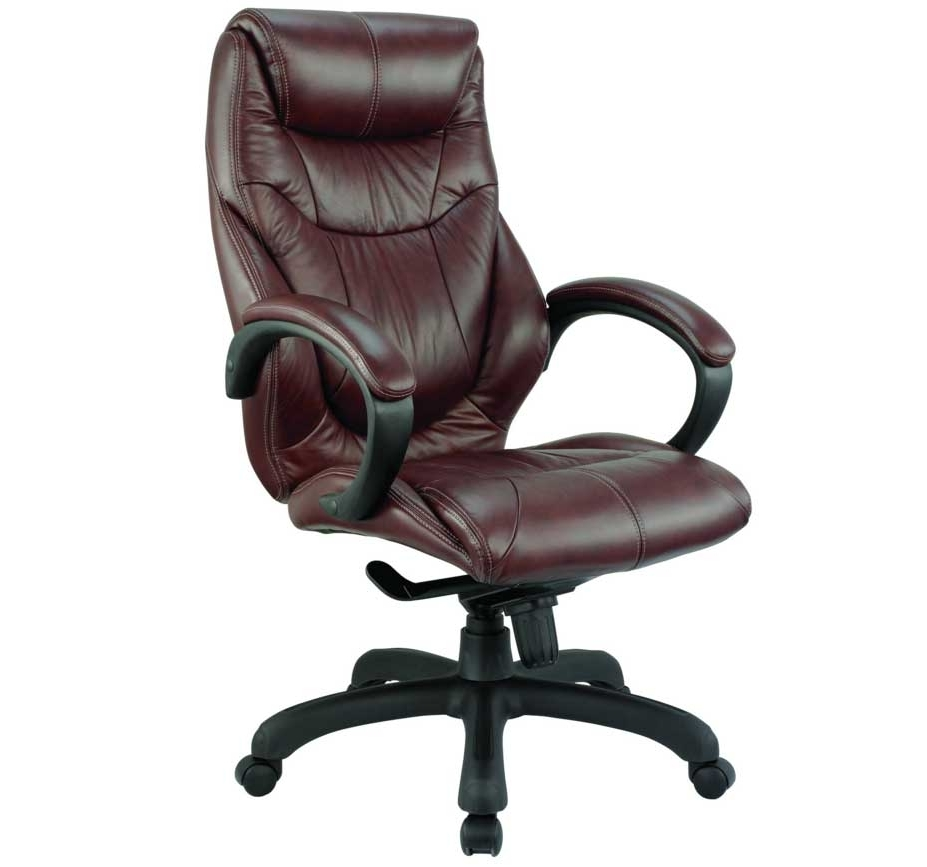 Real Leather Office Chair With Brown Color Ideas (View 2 of 20)
