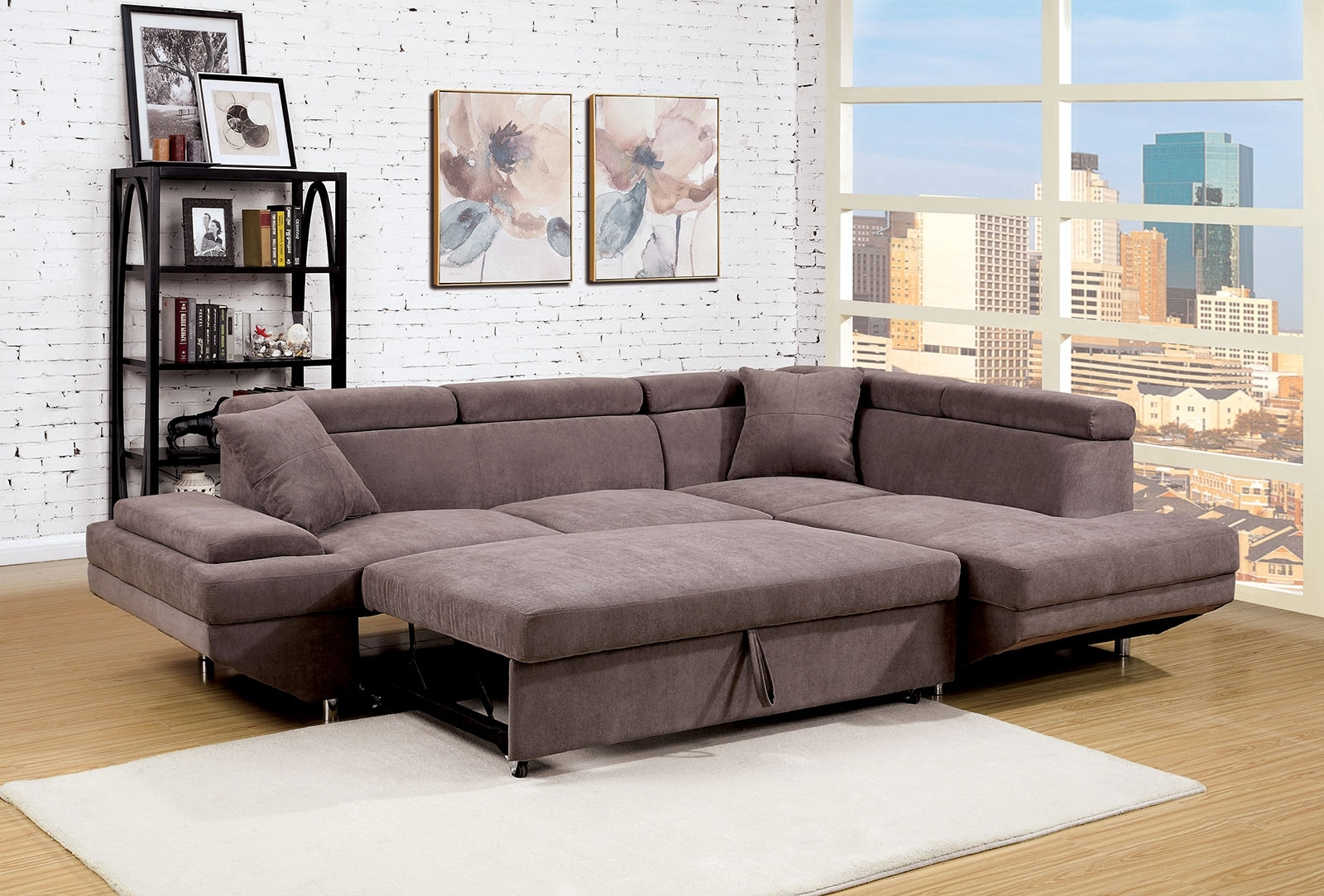Recent Adjustable Sectional Sofas With Queen Bed With Foreman Contemporary Style Brown Flannelette Fabric Pull Out (View 16 of 20)