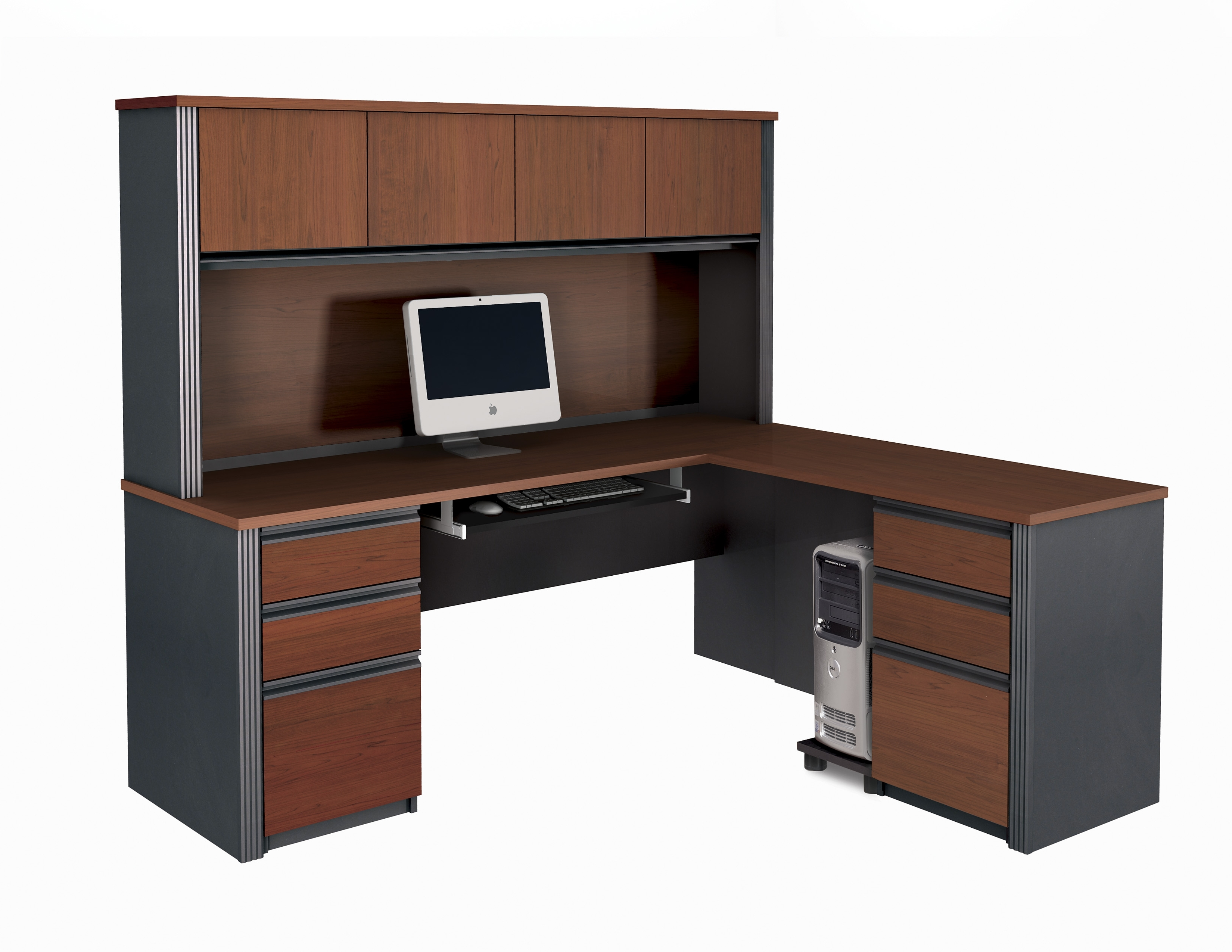Recent Bestar Prestige + L Shaped Desk And Hutch In L Shaped Computer Desks (View 6 of 20)