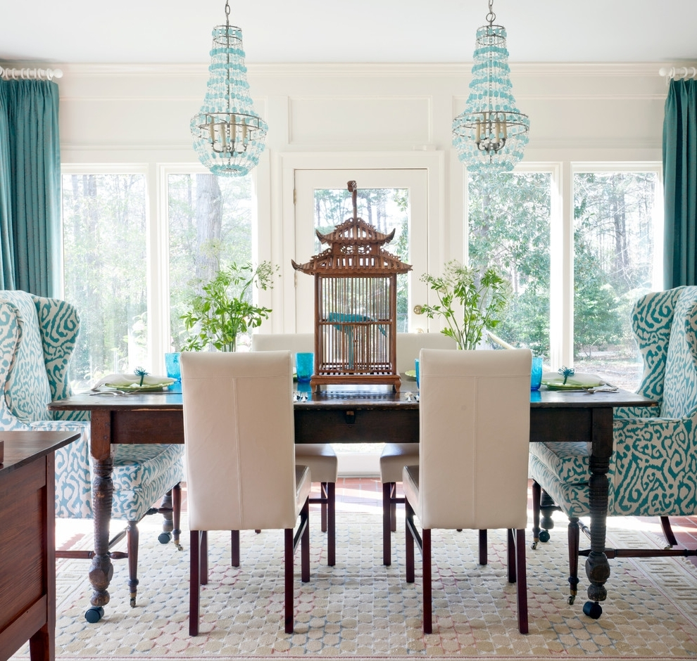 Recent Birdcage Chandelier Dining Room Eclectic With Arteriors Birdcage Intended For Turquoise Birdcage Chandeliers (View 20 of 20)