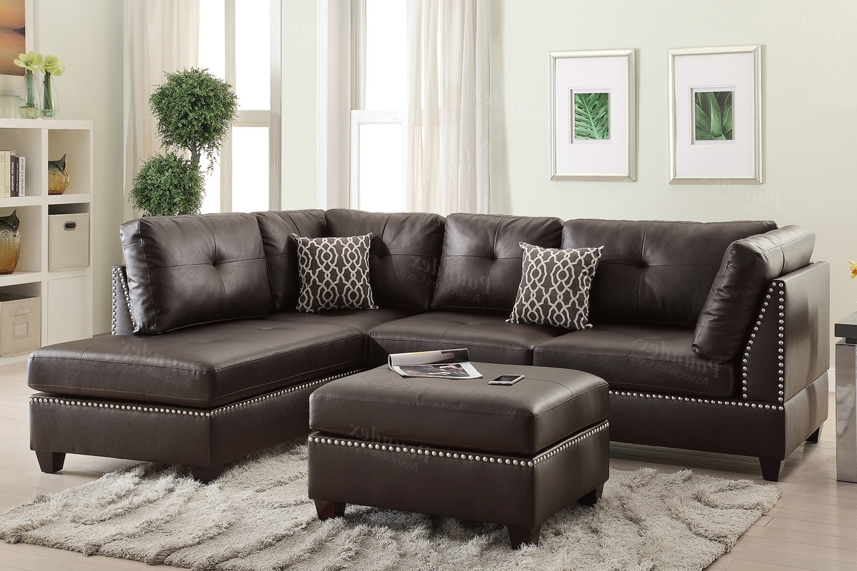 Recent Brown Leather Sectional Sofa And Ottoman – Steal A Sofa Furniture Regarding Leather Sectional Sofas With Ottoman (View 13 of 20)