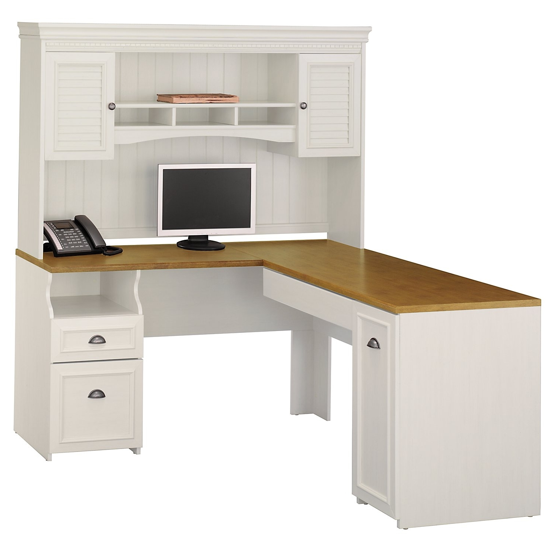 Recent Bush Fairview Antique White L Shaped Computer Desk Wc53230 03 Pertaining To L Shaped Computer Desks (View 15 of 20)