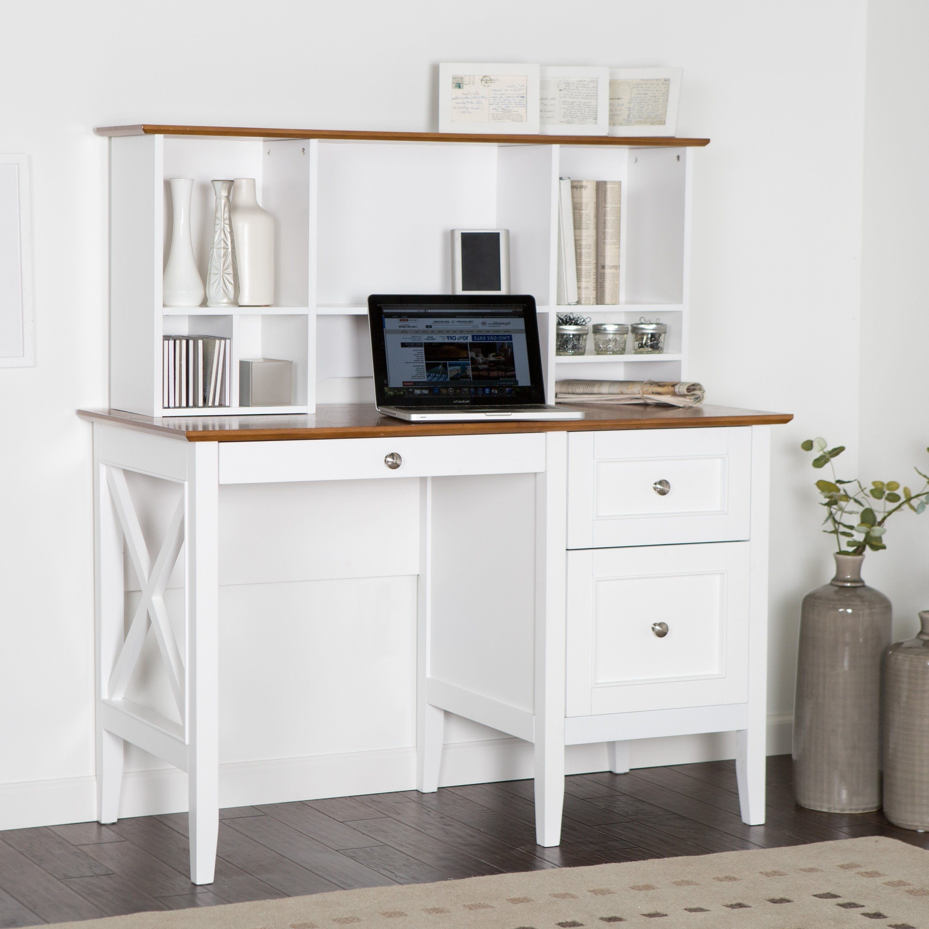 Recent Computer Desks Under $300 Pertaining To Belham Living Hampton Desk With Optional Hutch – White/oak – Add (View 1 of 20)