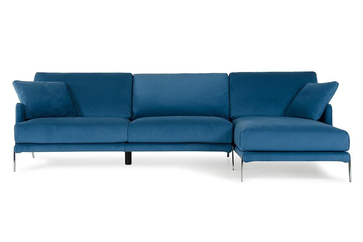 Recent David Ferrari Achen Modern Blue Velvet Fabric Sectional Sofa In Velvet Sectional Sofas (View 11 of 20)