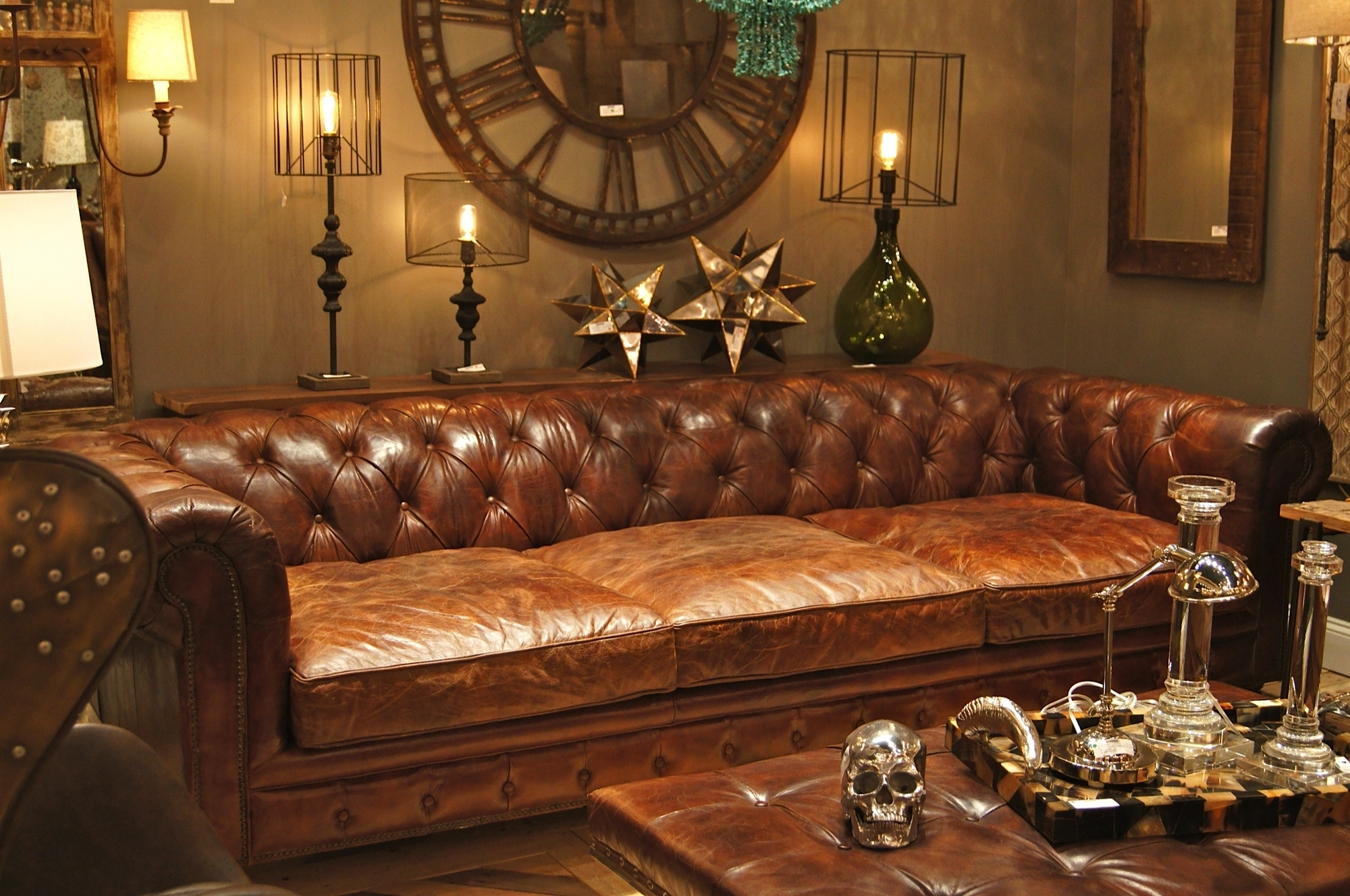 Recent Deep Cushion Sofas Pertaining To Extra Deep Chesterfield Sofa In Antique Brown Finish Plus Tufted (View 14 of 20)