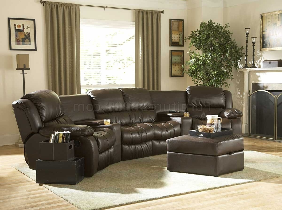 Recent Everett Wa Sectional Sofas For Brown Bonded Leather Home Theater Recliner Sectional Sofa (View 3 of 20)