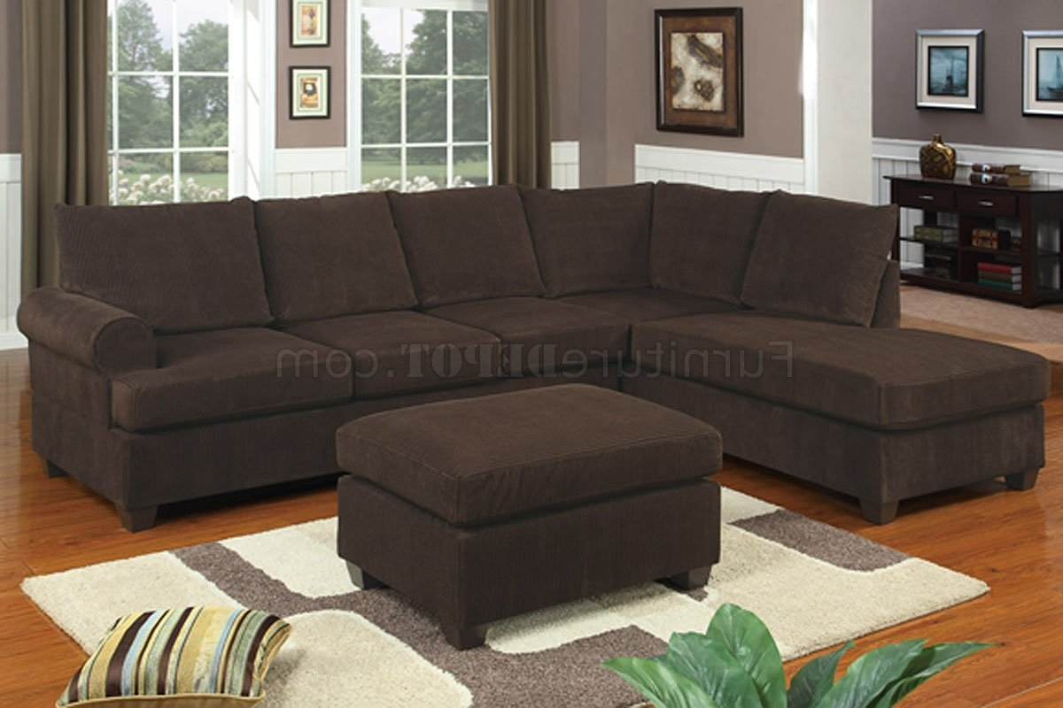 Recent F7135 Chocolate Corduroy Reversible Tufted Sectionalpoundex With Sectional Sofas Under  (View 9 of 20)