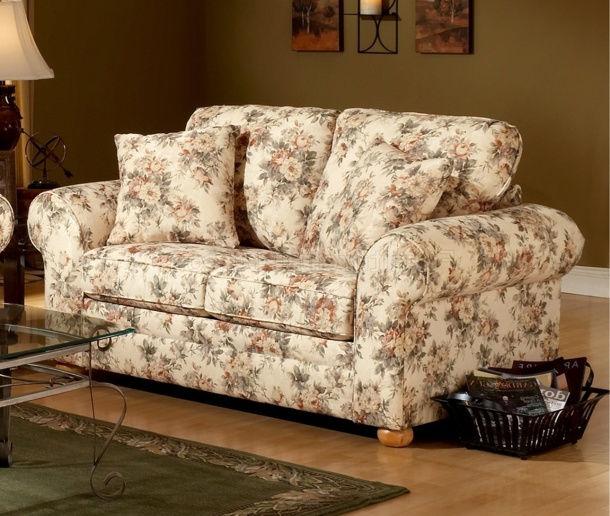 Recent Floral Sofas And Chairs Pertaining To Pattern Fabric Traditional Sofa & Loveseat Set (View 8 of 20)