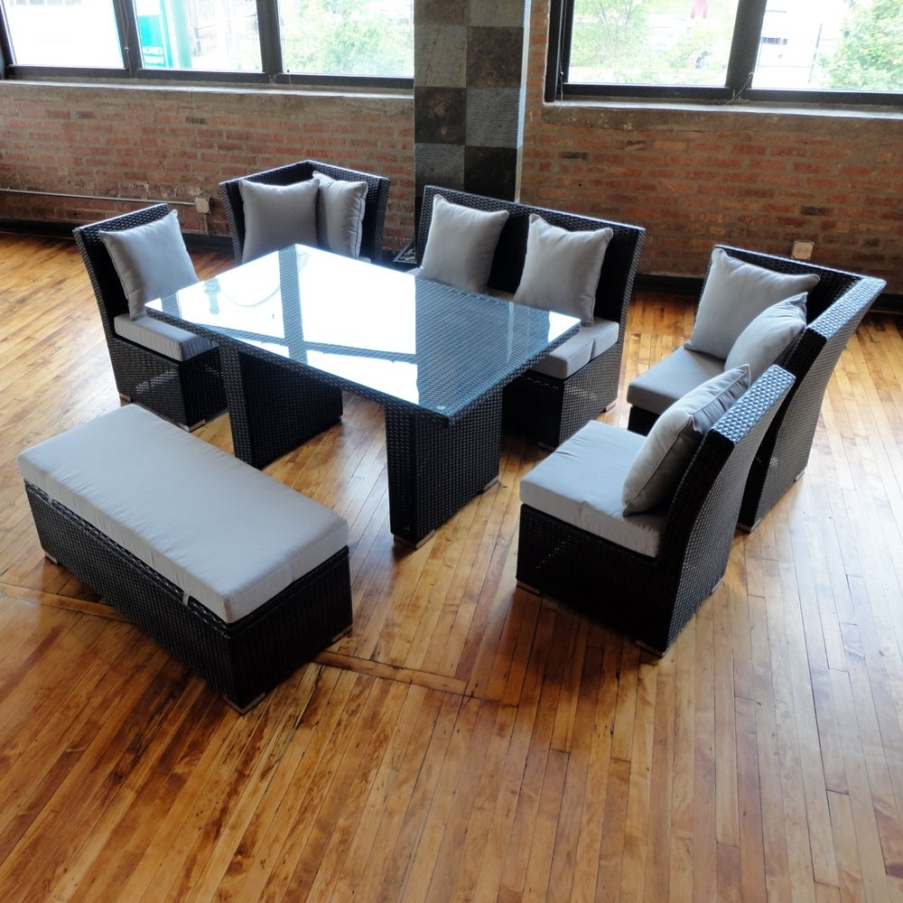 Recent Jamaica Sectional Sofas In Jamaican Sofa And Dining Set In Black Wicker, Light Gray Fabric (View 3 of 20)