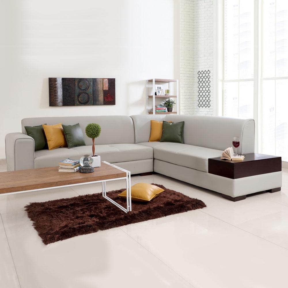 Recent L Shaped Sofas For L Shaped Sofas, Alden Leatherette L Shape Sofa Left – Light Beige (View 16 of 20)