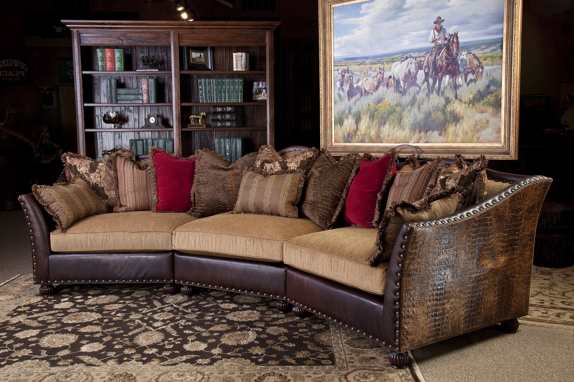 Recent Leather And Cloth Sofa Sally Mae Sofasectional Sectional Sofas For Western Style Sectional Sofas (View 12 of 20)