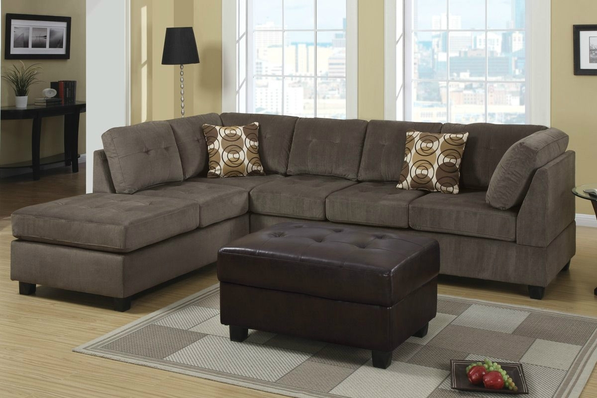 Recent Leather And Suede Sectional Sofas Within Cozy Microfiber Sectional Couch — Fabrizio Design : Perfect Ideas (View 6 of 20)