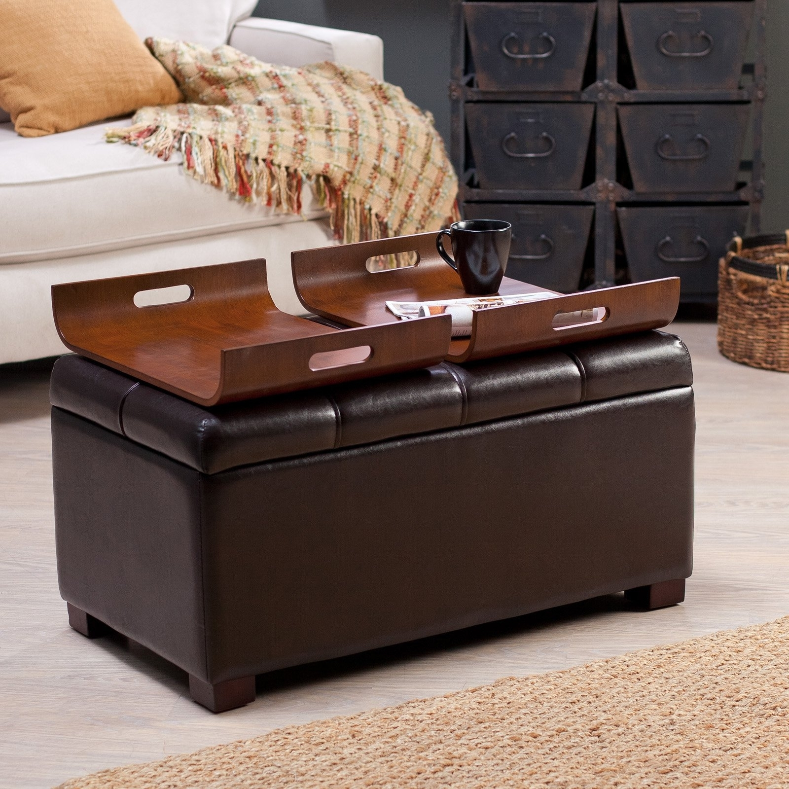 Recent Livingston Storage Ottoman With Tray Tables – Brown – Add Serious Within Ottomans With Tray (View 4 of 20)