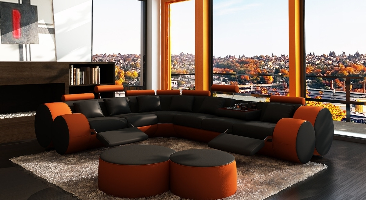 Recent Orange Sectional Sofas In 3087 Modern Black And Orange Leather Sectional Sofa And Coffee Table (View 18 of 20)