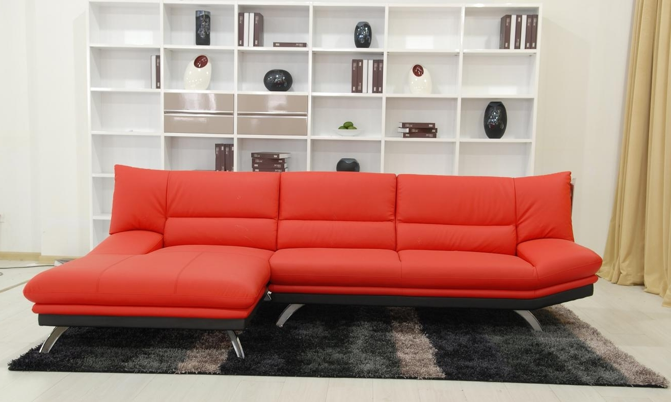 Recent Red Leather Sectional Couches With Beautiful Red Leather Sectional Sofa With Chaise Photos (View 8 of 20)