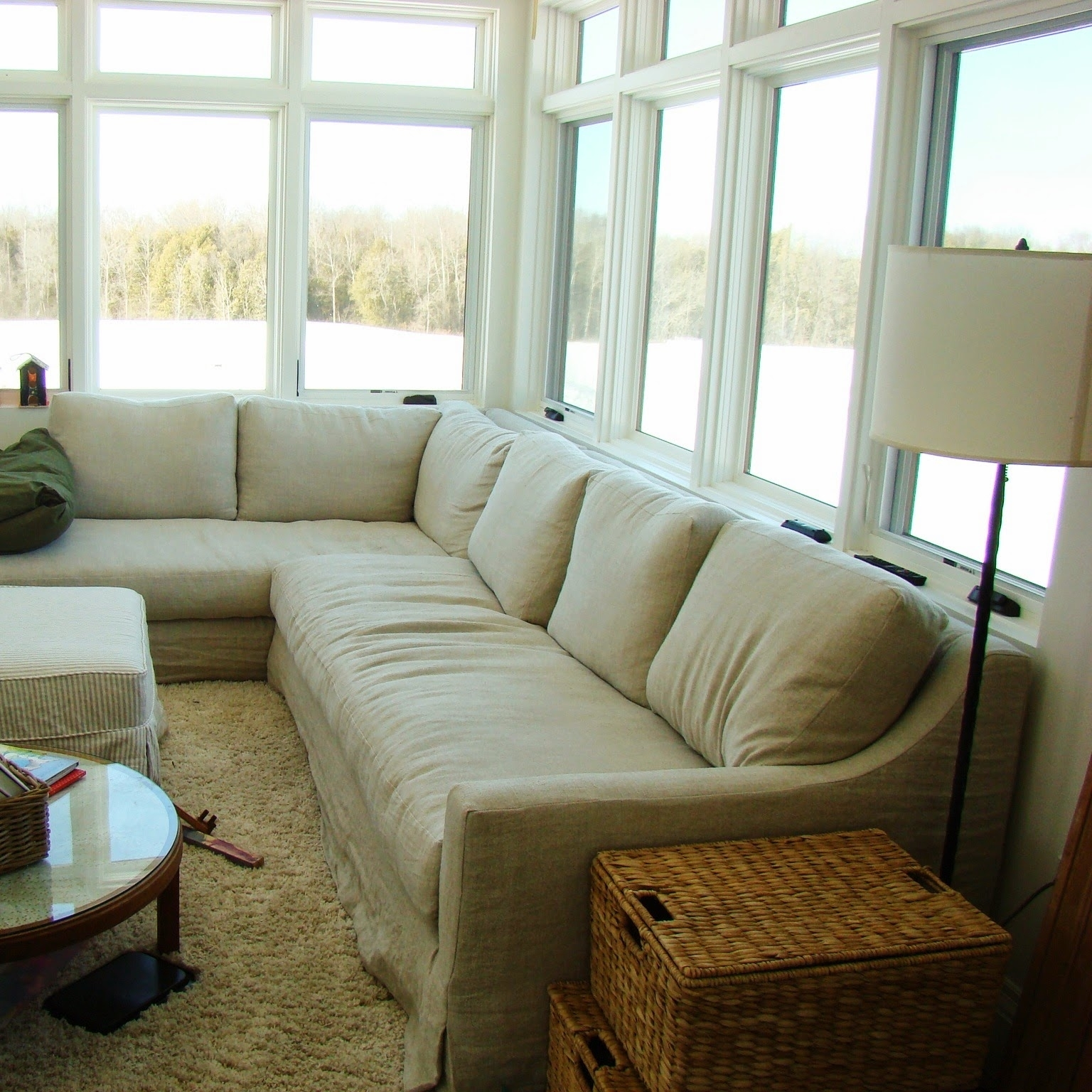 Recent Restoration Hardware Sectional Sofas Within Building Walnut Farm Belgian Linen Slipcovered Furniture Gallery