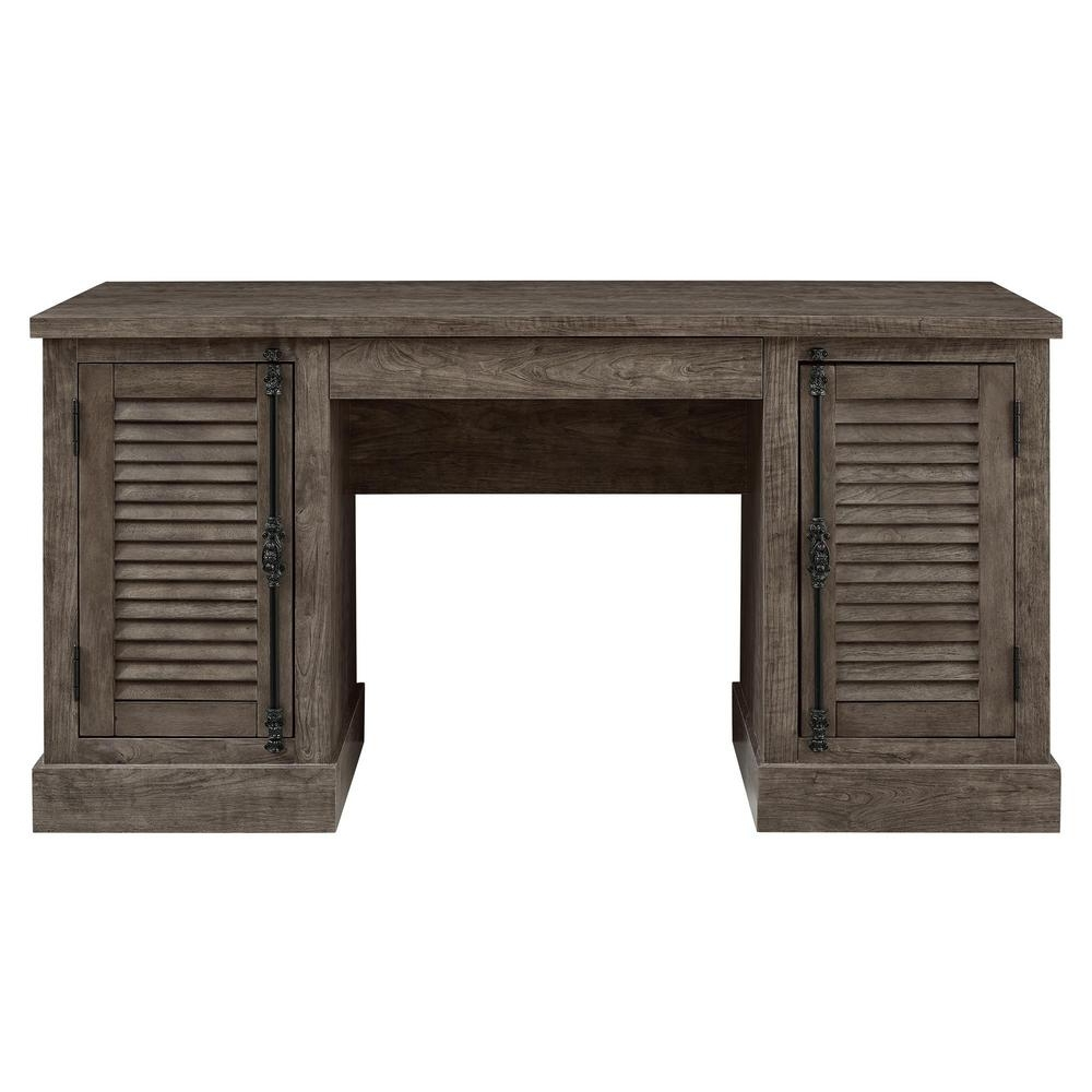 Recent Rustic Computer Desks Pertaining To Ameriwood Home Heathrow Rustic Gray Double Pedestal Desk Hd (View 4 of 20)