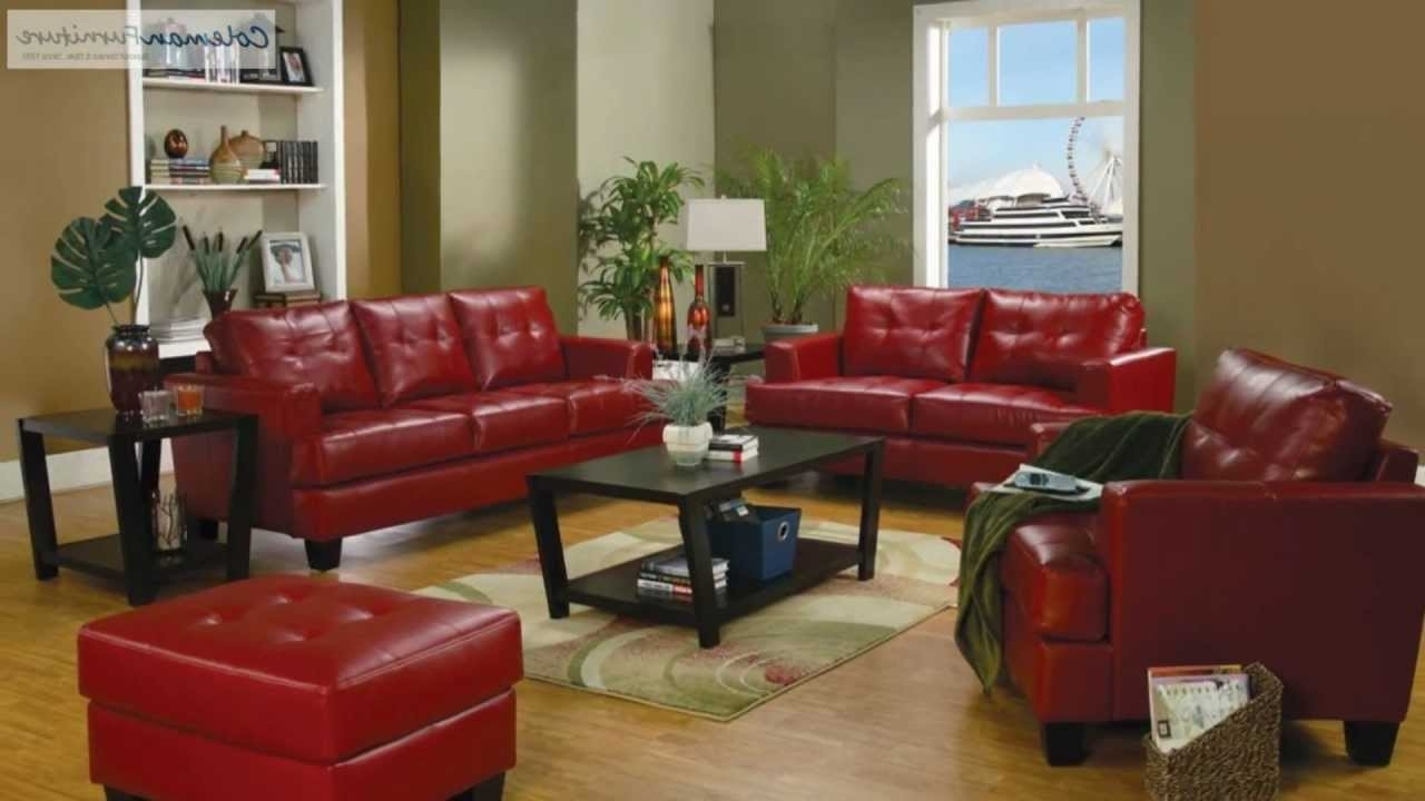Recent Samuel Red Leather Living Room Collection From Coaster Furniture Pertaining To Red Leather Couches And Loveseats (View 10 of 20)