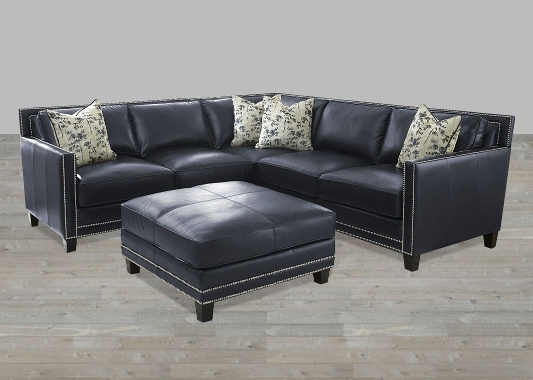 Recent Sectional Blue Silver Nailheads Top Grain Leather Ottoman Throughout Sectional Sofas With Nailheads (View 10 of 20)