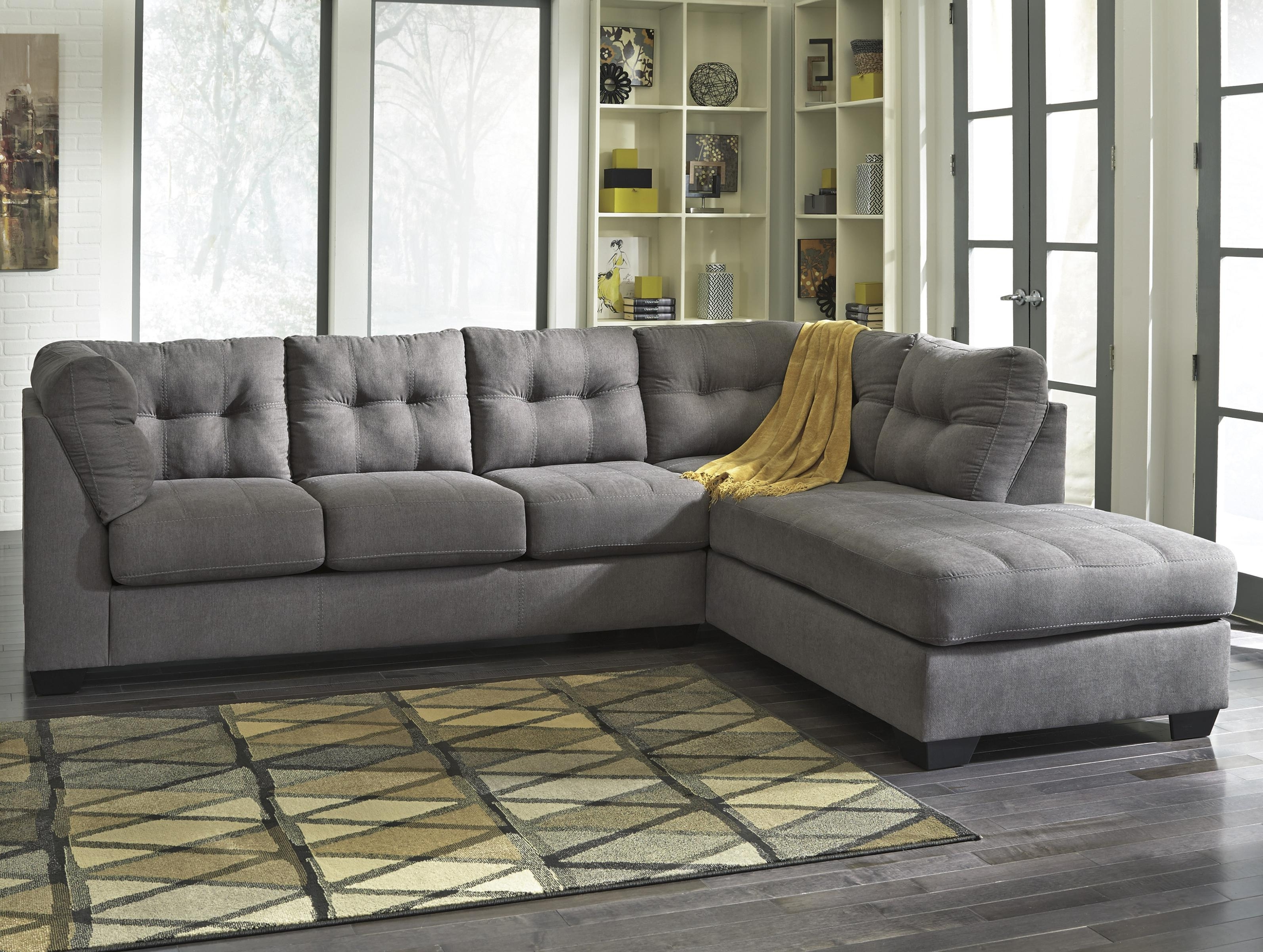 Recent Sectional Sofas With Cuddler Chaise Pertaining To Benchcraft Maier – Charcoal 2 Piece Sectional W/ Sleeper Sofa (View 12 of 20)