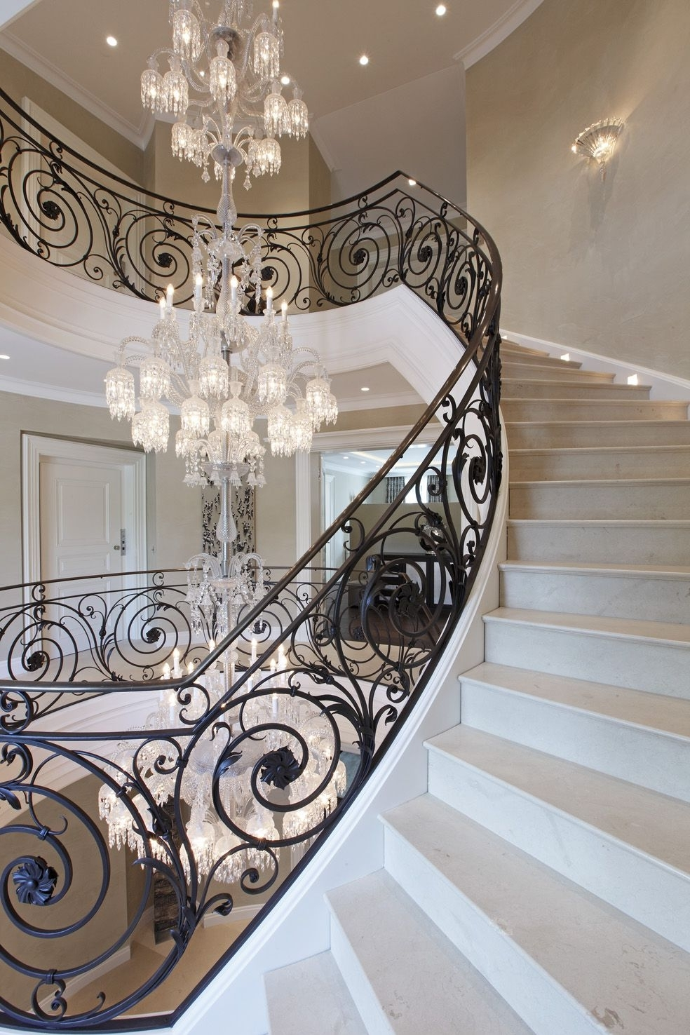 Recent Stairway Chandeliers With Regard To Baccarat Chandelier Villa Privéestunning Wrought Iron Stair (View 15 of 20)