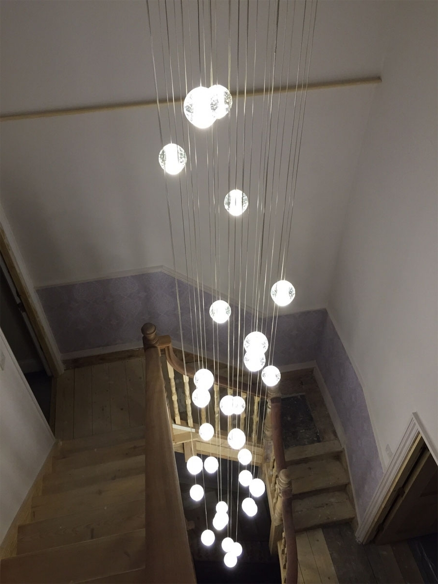 Recent Stairwell Chandelier Lighting With Air Buble Stairwell Lighting : Nice Stairwell Lighting Control (View 4 of 20)