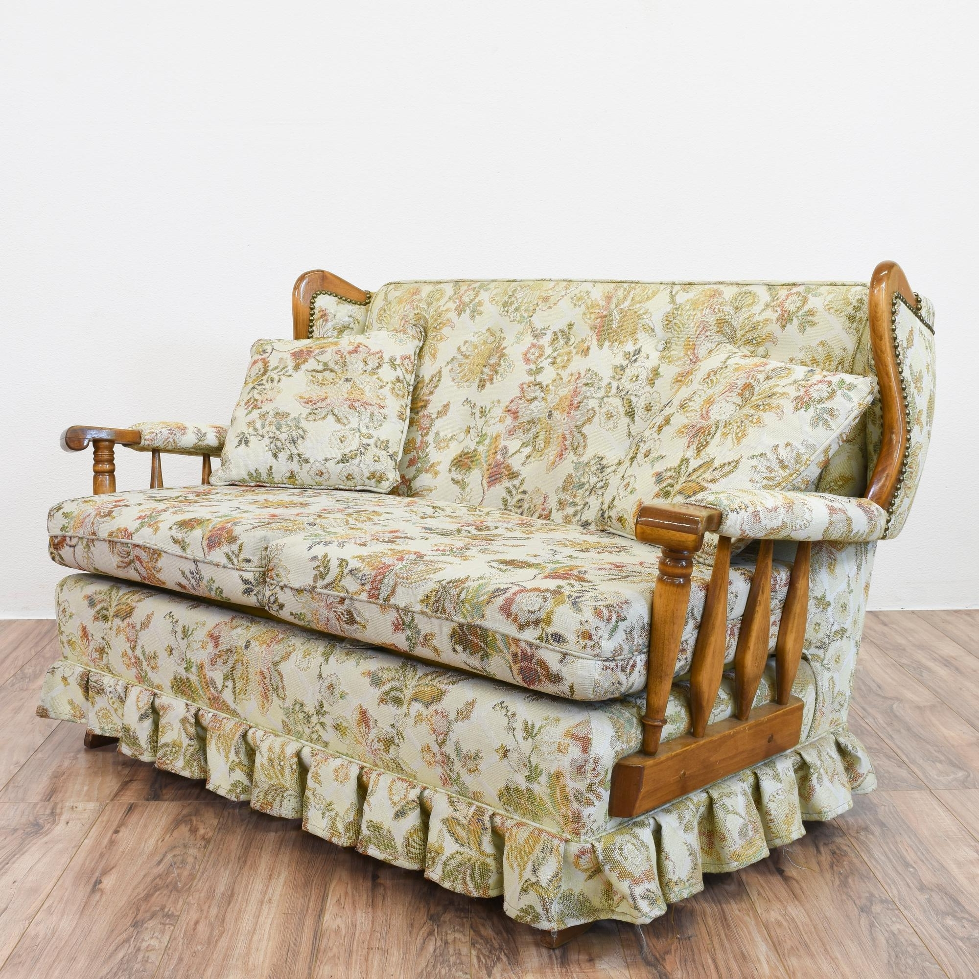 Recent This Rocking Sofa Is Featured In A Solid Wood With A Glossy Maple Intended For Yellow Chintz Sofas (View 13 of 20)