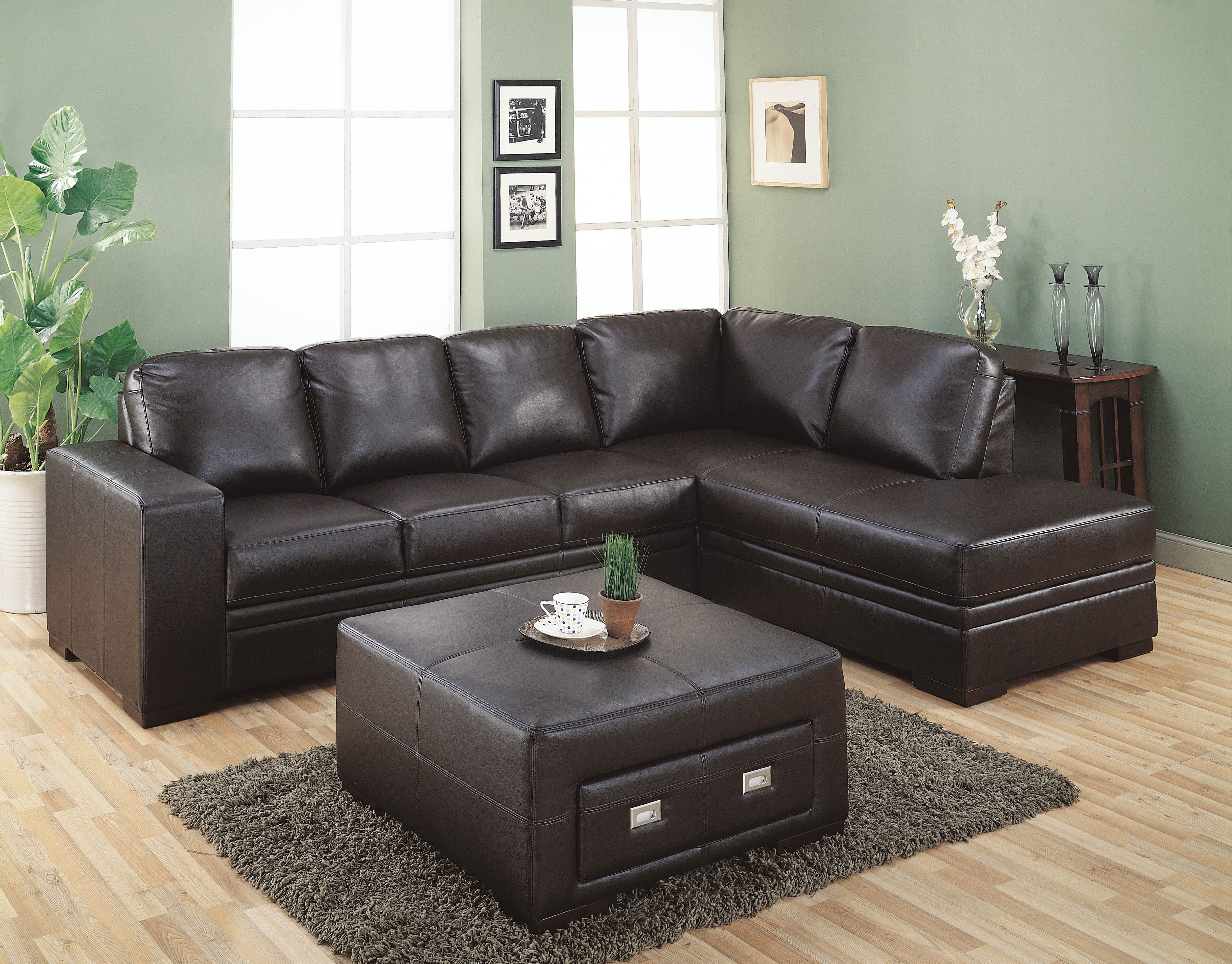 Recent Very Popular Sectional Dark Brown Leather Couch With Square Regarding Leather Sofas With Storage (View 18 of 20)