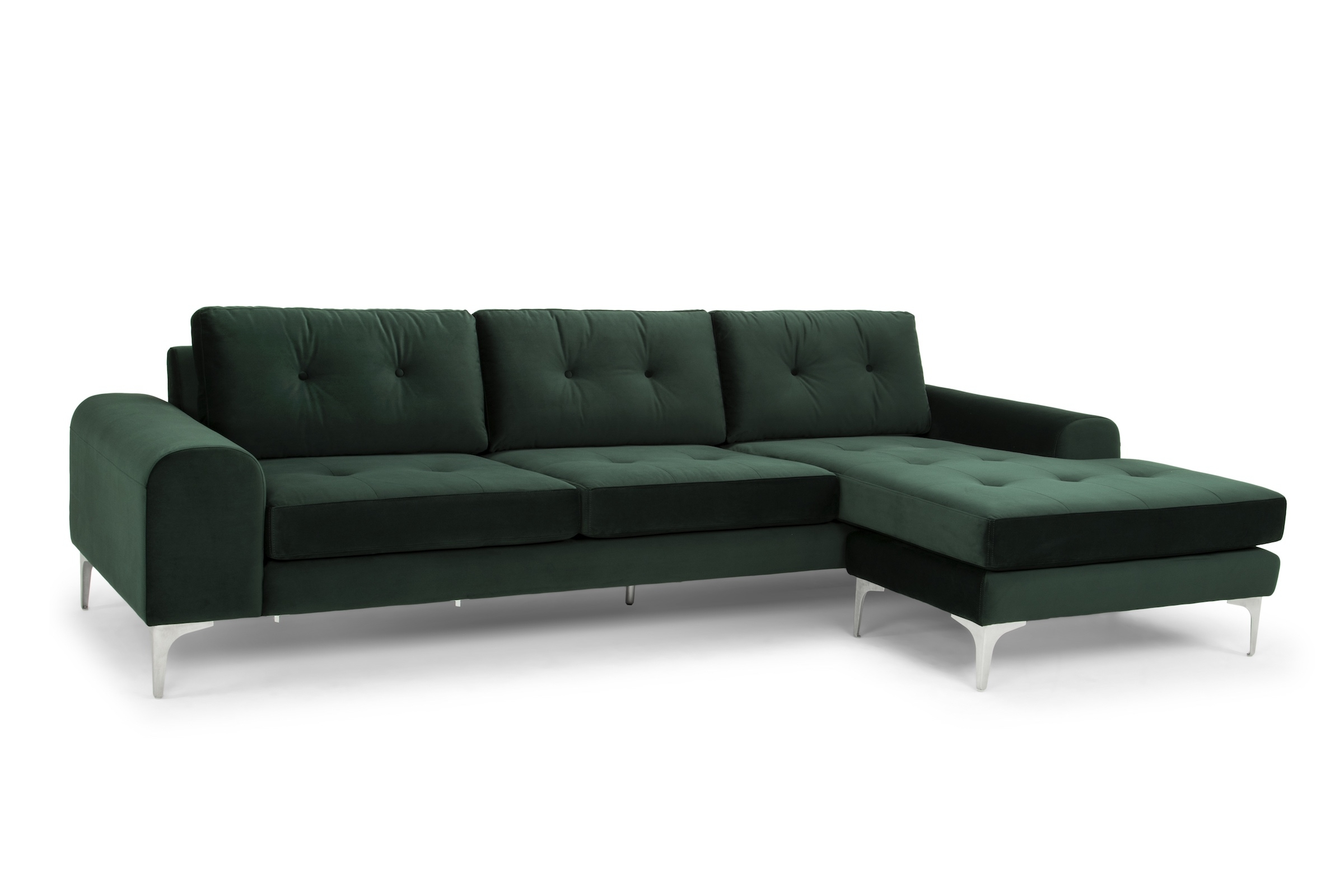 Recent Visalia Ca Sectional Sofas In Sectional Sofa In Emerald Green And Brushed Stainless – Reversible (View 15 of 20)