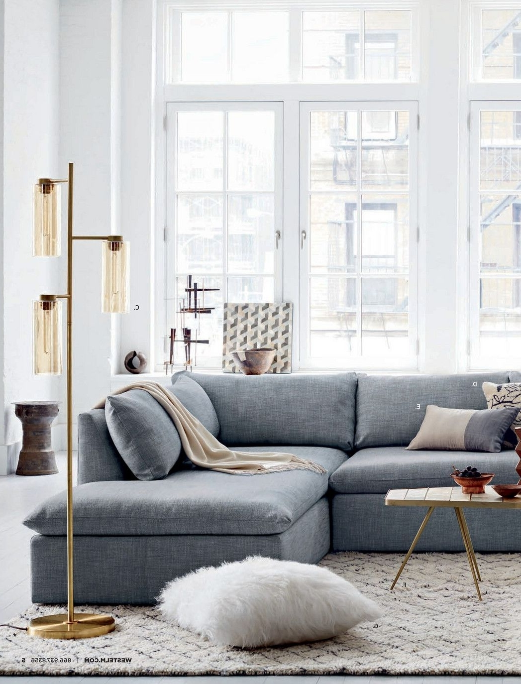 Recent West Elm Sectional Sofas With Regard To Add Allure To Your Living Room With These Tripod Floor Lamps (View 10 of 20)