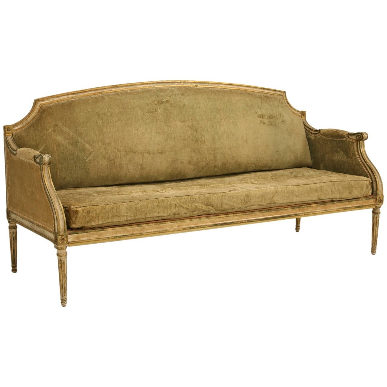 Recent Xvi Style Antique Sofa In Incredible Original Paint At 1stdibs Pertaining To Antique Sofas (View 14 of 20)