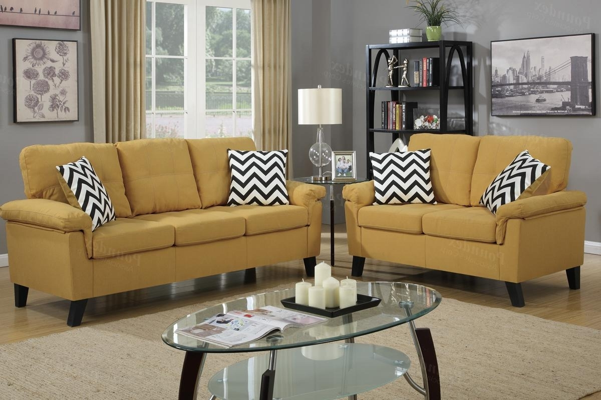 Recent Yellow Sofa Chairs With Regard To Yellow Fabric Sofa And Loveseat Set – Steal A Sofa Furniture (View 11 of 20)