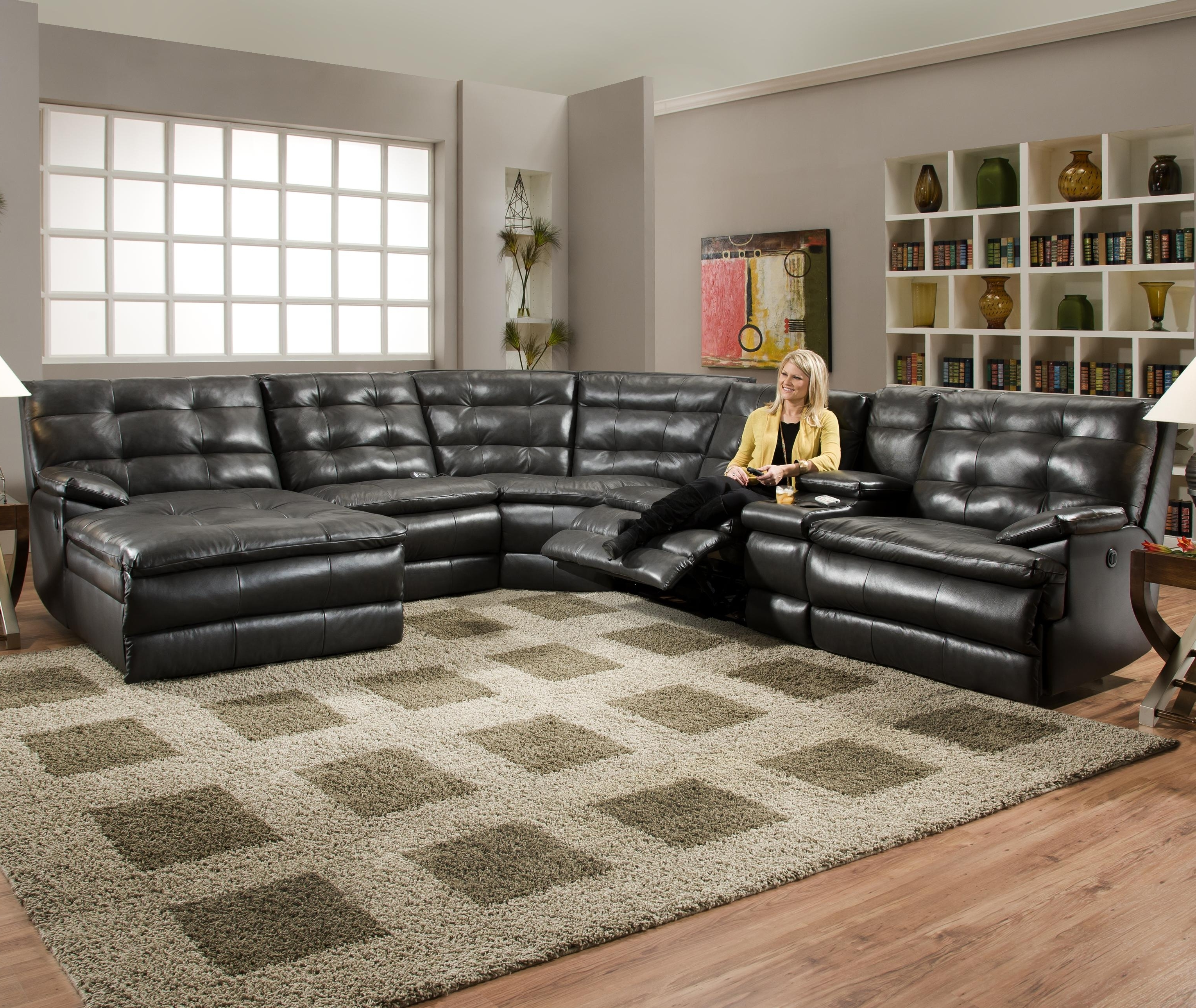 Reclining Sectional Sofas With Regard To Current Luxurious Tufted Leather Sectional Sofa In Classy Black Color With (View 12 of 20)