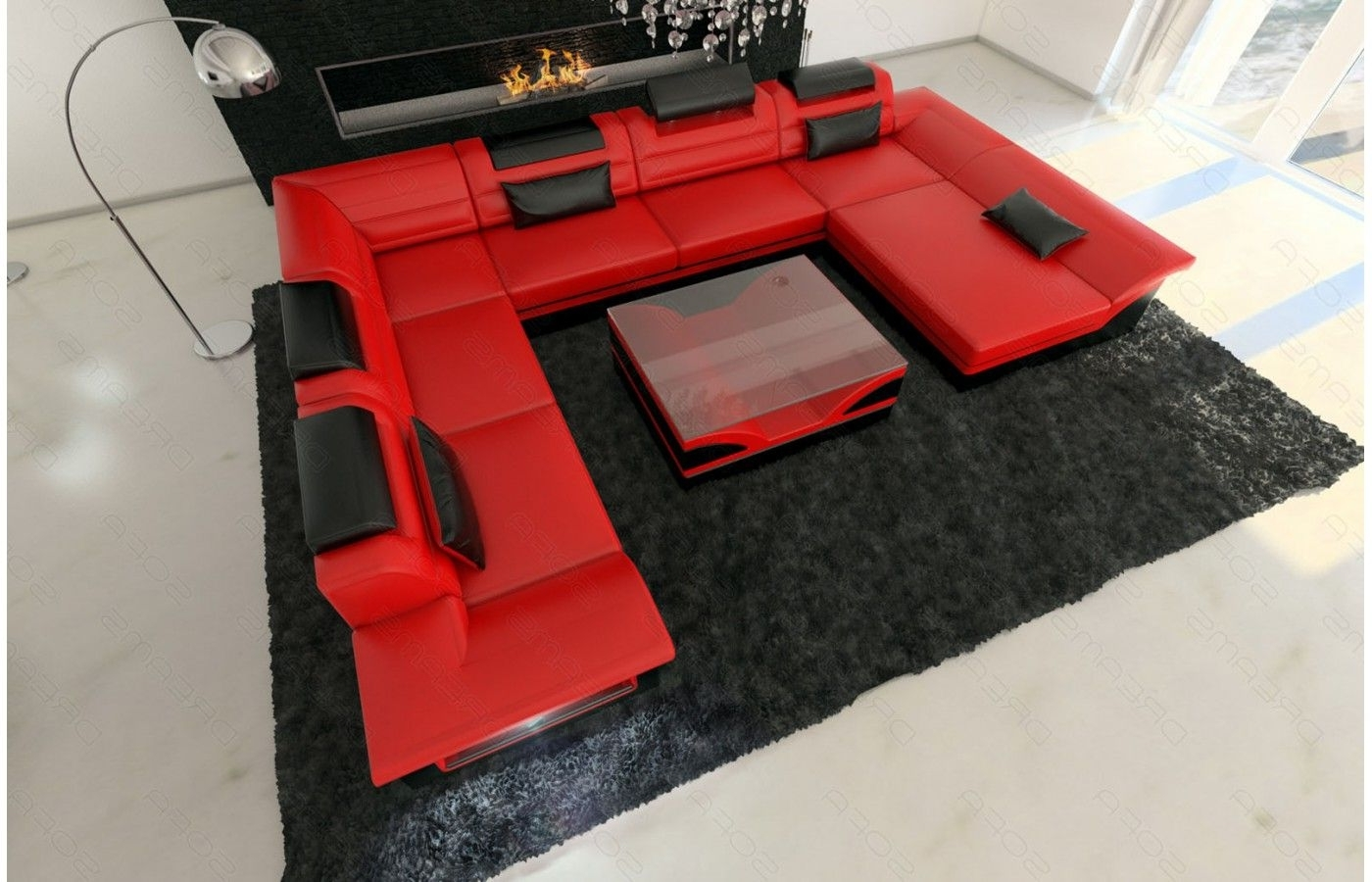 Red And Black Sofas With Best And Newest Wohnlandschaft Enzo Xxl In Rot Schwarz – Exklusive Designer Möbel (View 15 of 20)