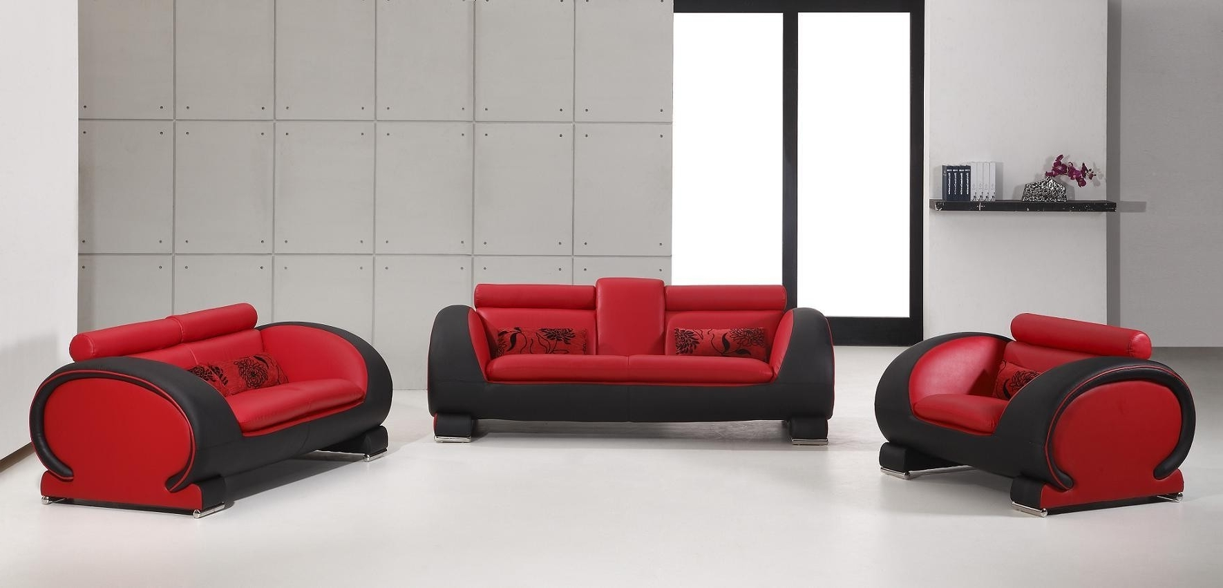 Red And Black Sofas With Regard To Most Recently Released 2811 – Red & Black Bonded Leather Sofa Set Nova Interiors (View 20 of 20)