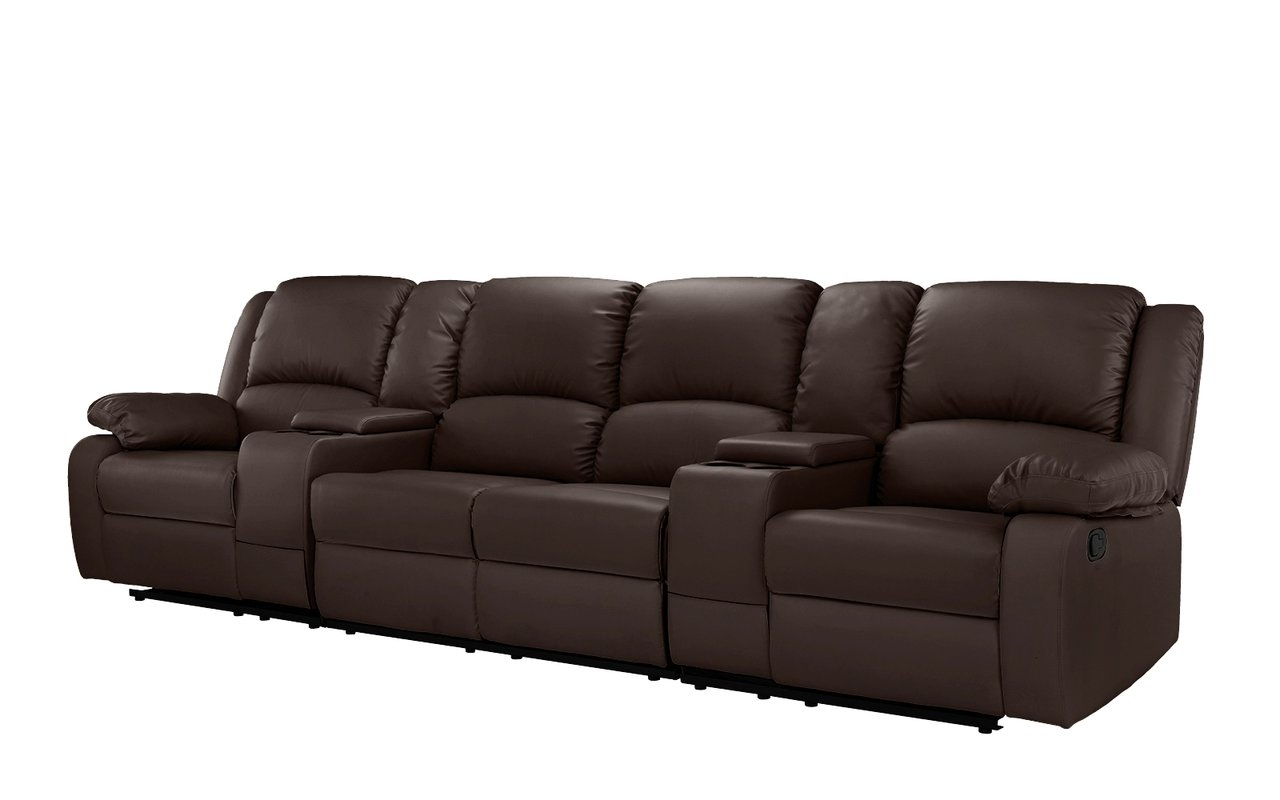 Red Barrel Studio 4 Seat Home Theater Sofa With Cup Holder Within Trendy 4 Seat Leather Sofas (View 9 of 20)