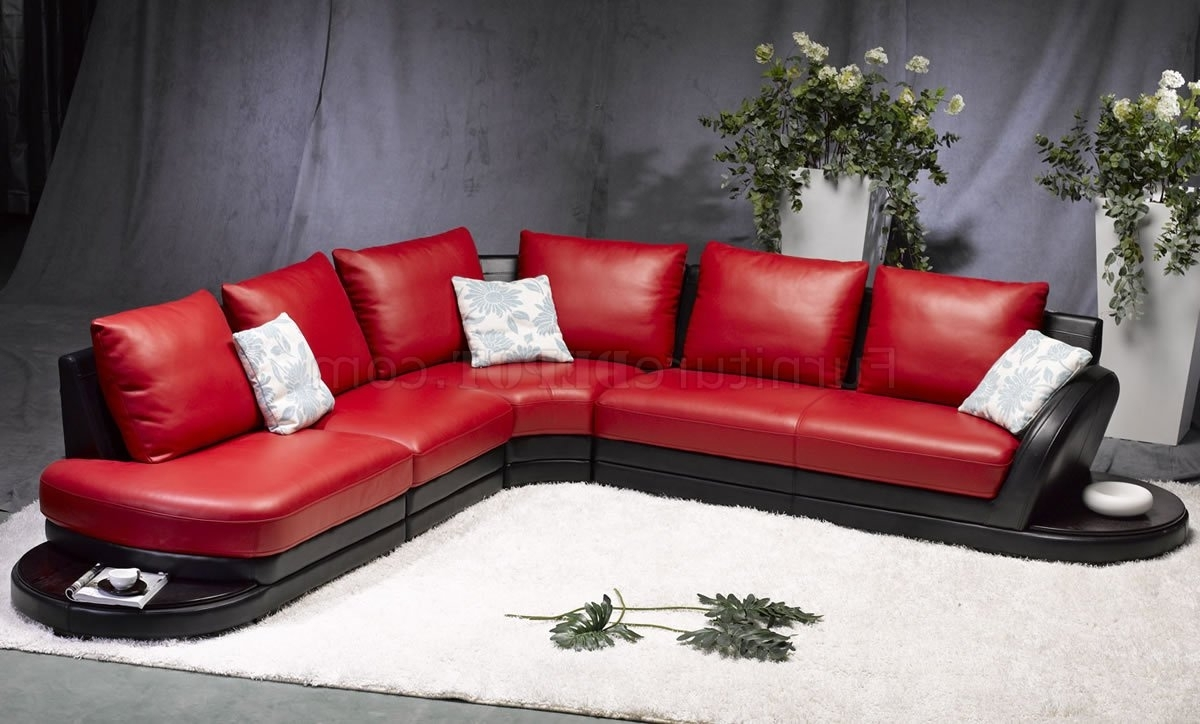 Red & Black Leather Modern Two Tone Sectional Sofa Inside Well Liked Red Black Sectional Sofas (View 7 of 20)