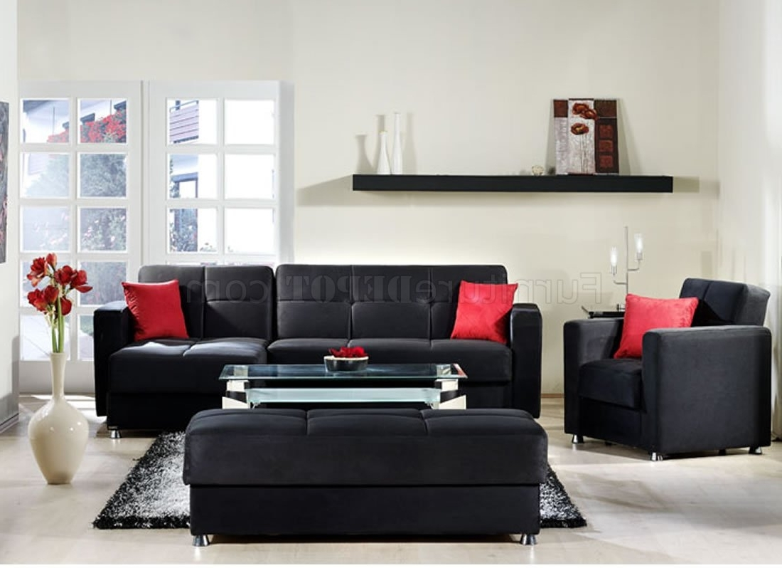 Red Black Sectional Sofas Intended For Well Known Elegant Rainbow Storage Sectional Sofa In Blacksunset (View 9 of 20)