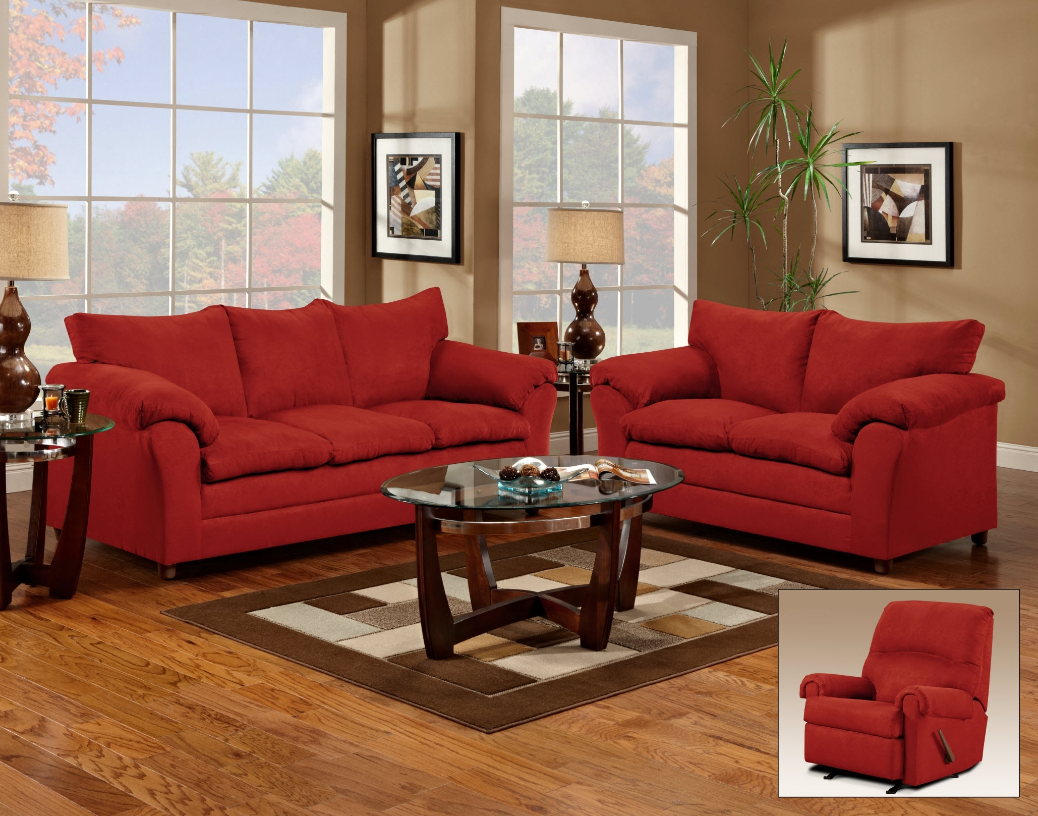 Red Couch And Loveseat – Living Room (View 9 of 20)