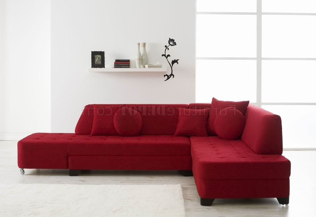 Red Fabric Modern Convertible Sectional Sofa W/wood Legs Pertaining To 2018 Red Sectional Sofas (View 14 of 20)