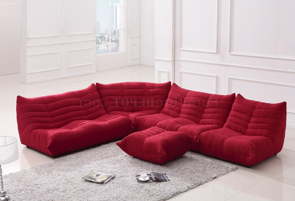 Red Fabric Modern Sectional Sofa W/ottoman With Well Known Red Sectional Sofas With Ottoman (View 10 of 20)