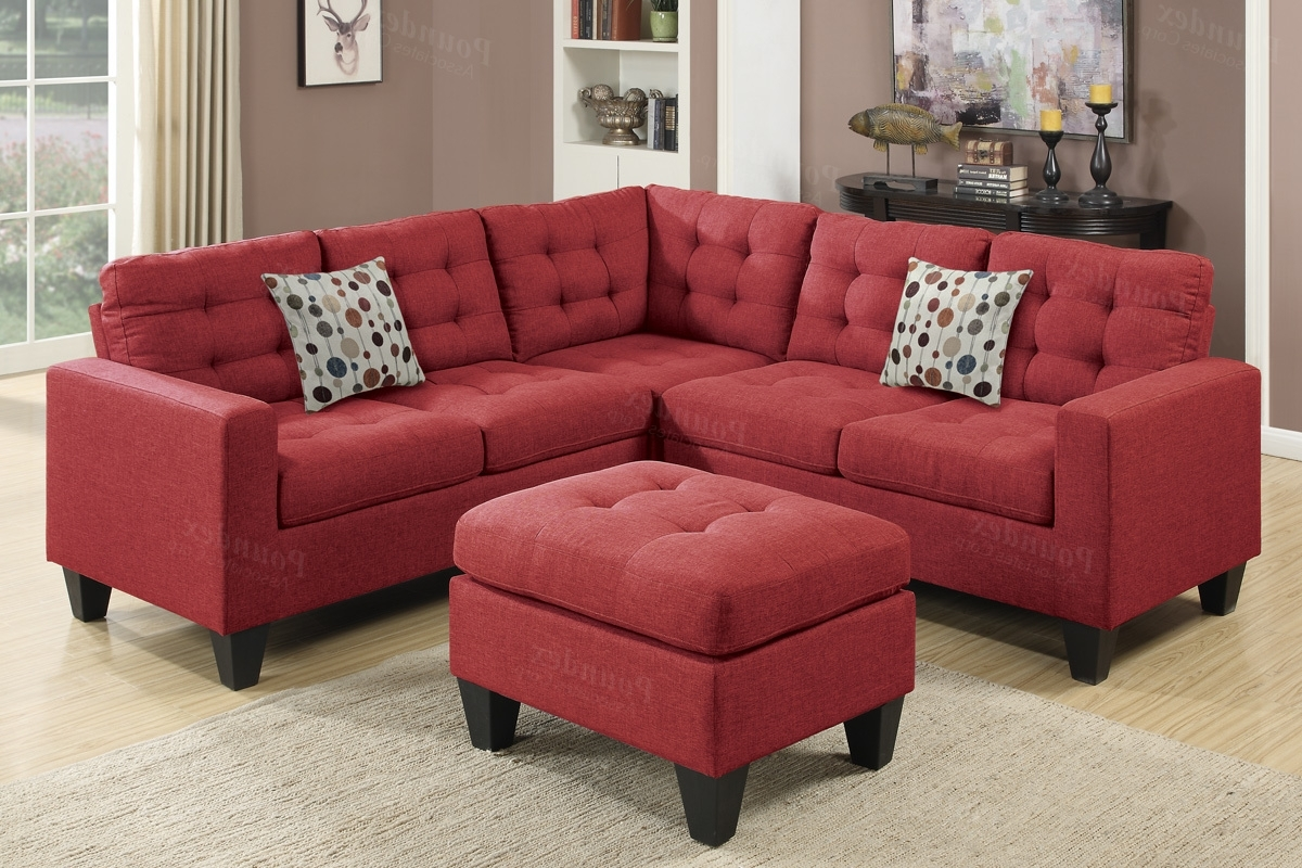 Red Fabric Sectional Sofa And Ottoman – Steal A Sofa Furniture Within Current Red Leather Sectionals With Ottoman (View 7 of 20)