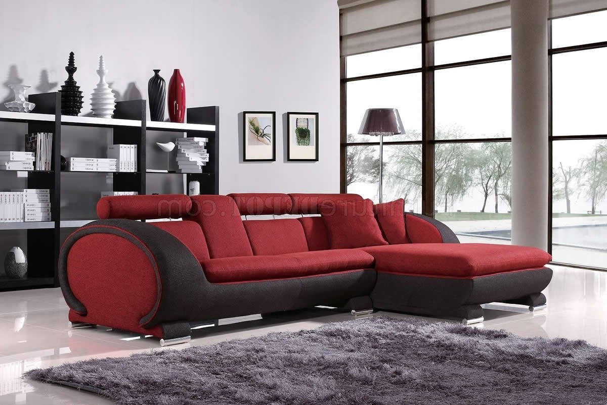 Red Fabric Two Tone Modern Sectional Sofa W/cup Holders For Preferred Sectional Sofas With Cup Holders (View 5 of 20)
