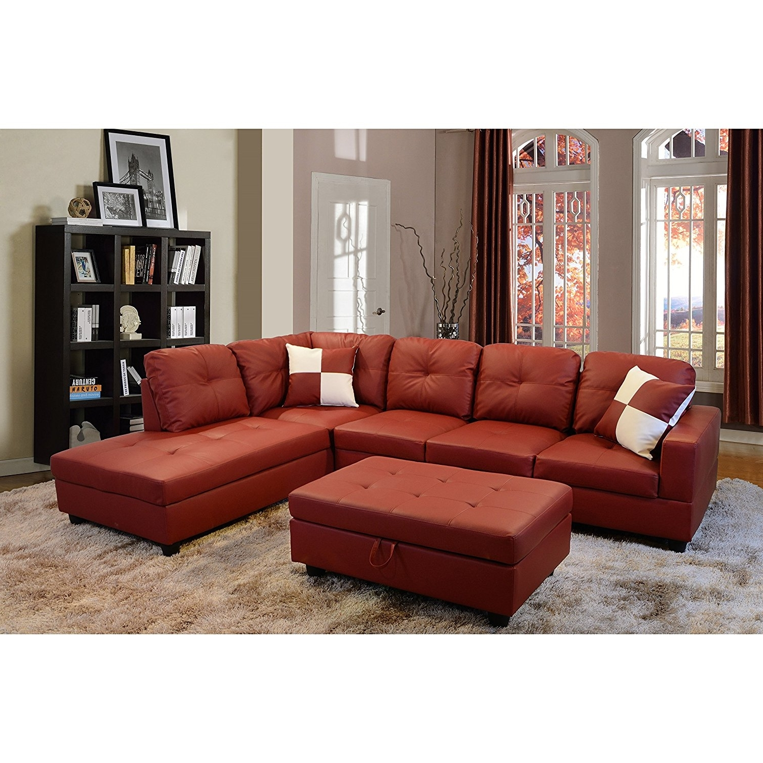 Red Faux Leather Sectionals Throughout Recent Sofas : Red Sectional Cheap Sectional Sofas U Shaped Couch (View 13 of 20)